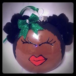 Brown girl Christmas ornament